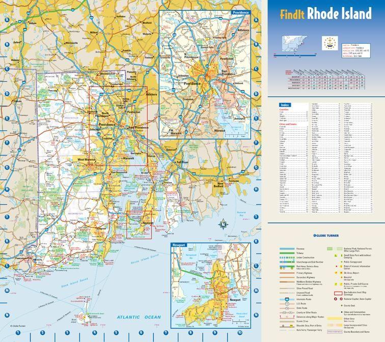Rhode Island State Wall Map