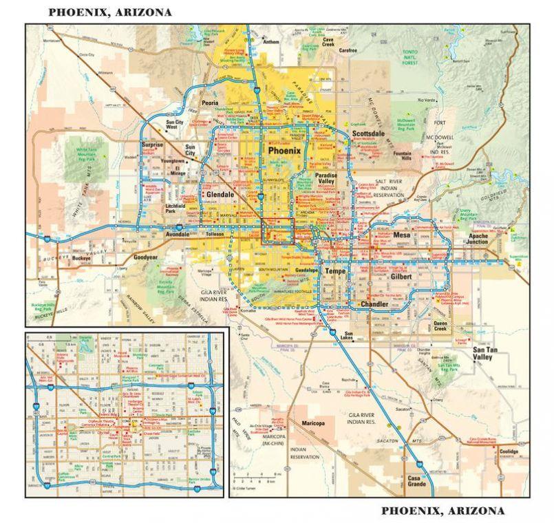 Phoenix Arizona Wall Map