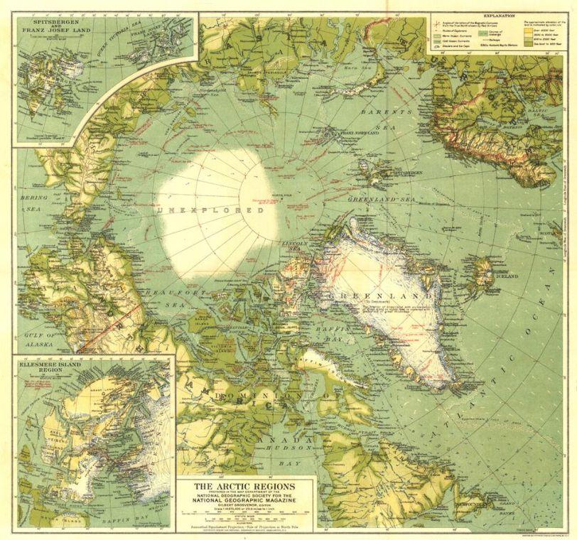 Arctic Regions Published 1925 Map