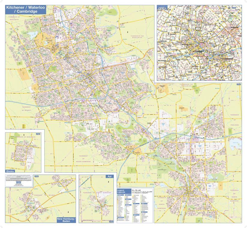 Kitchener Waterloo Cambridge Wall Map Street Detail
