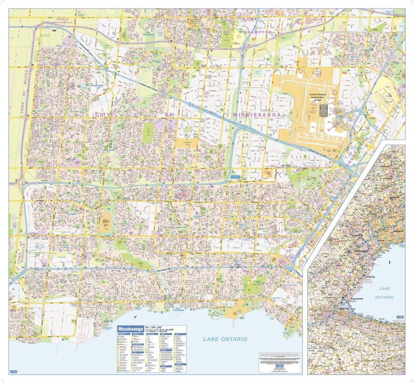 Mississauga Wall Map Large