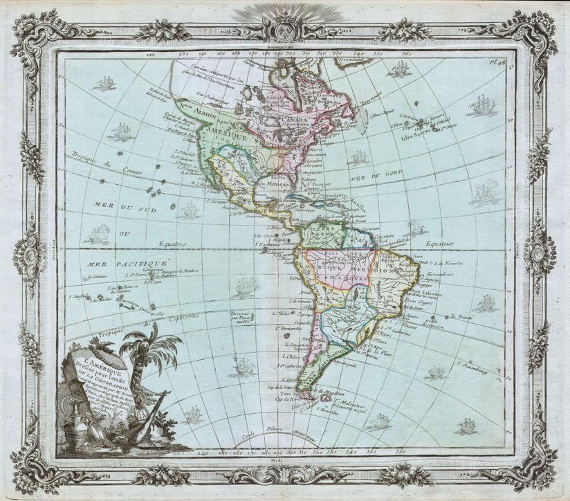 Brion De La Tour Map Of North America And South America 1764