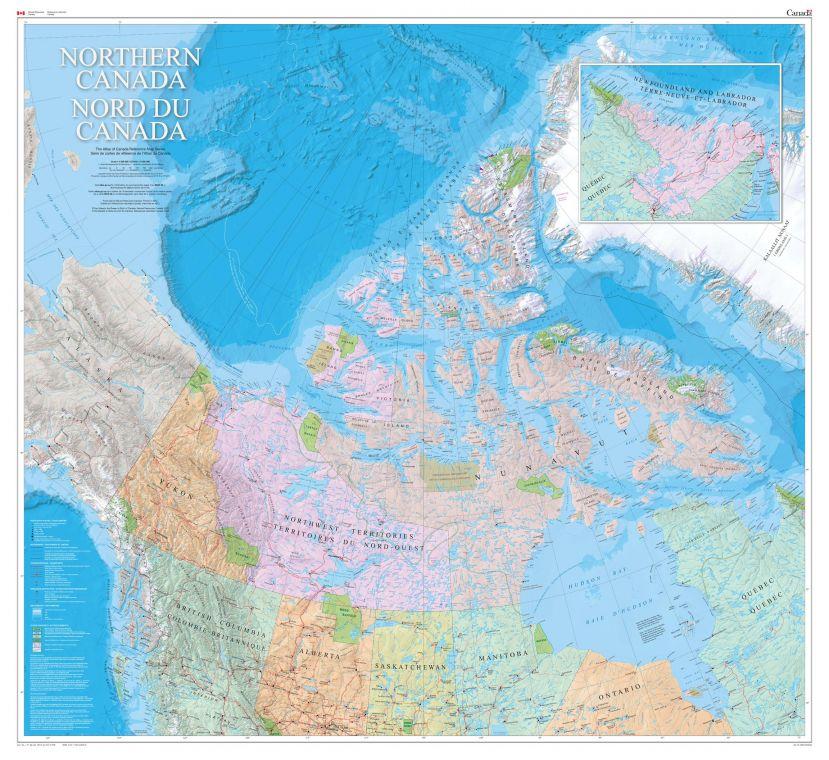 Northern Canada Wall Map Bilingual Atlas Of Canada