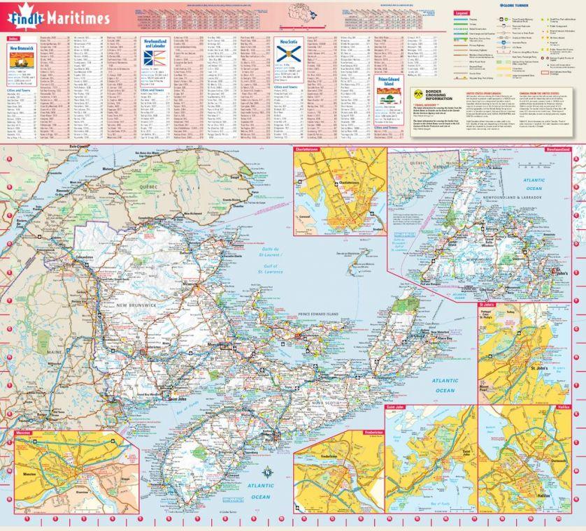 Maritimes Provinces Wall Map