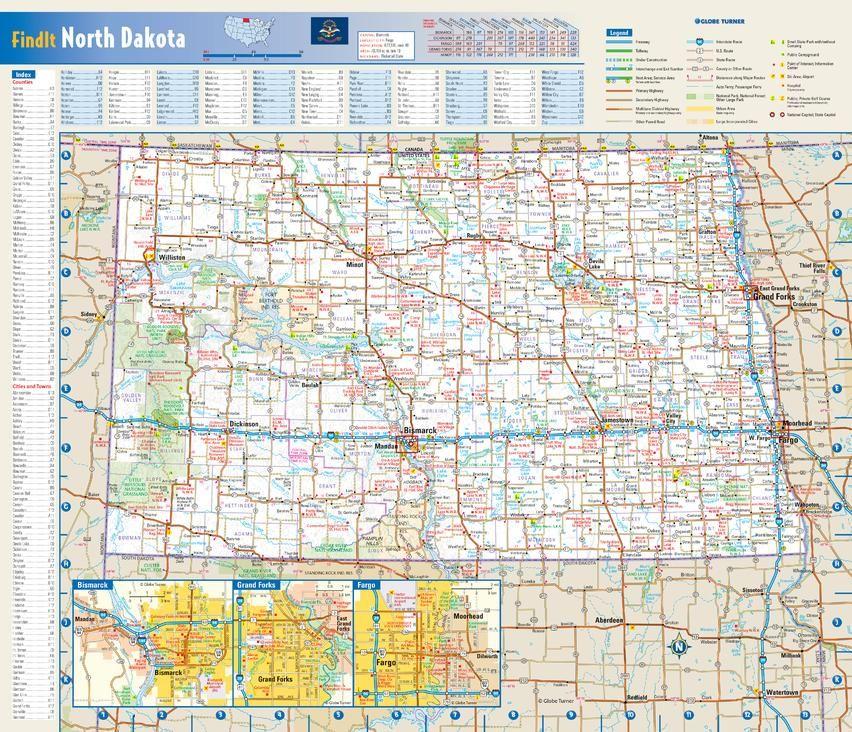 North Dakota State Wall Map