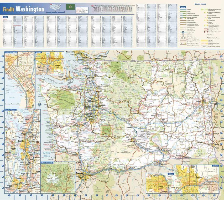 Washington State Wall Map