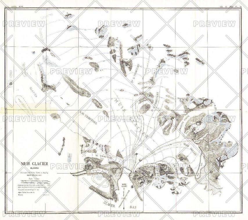 Muir Glacier Alaska Published 1892 Map