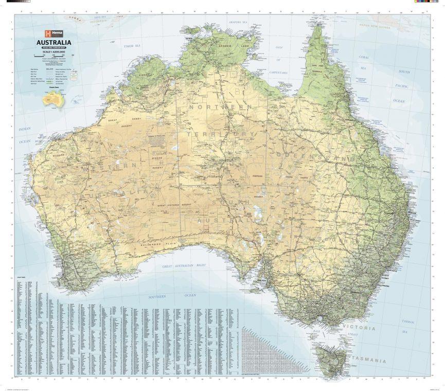 Australia Road Terrain Wall Map