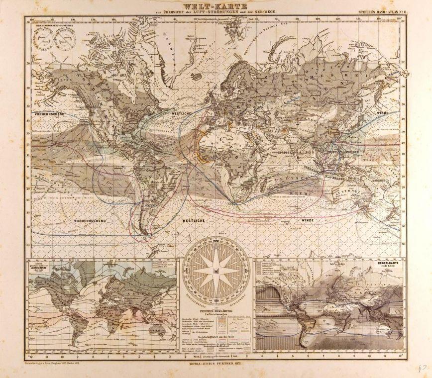 World Map In German Gotha Justus Perthes 1872 Atlas