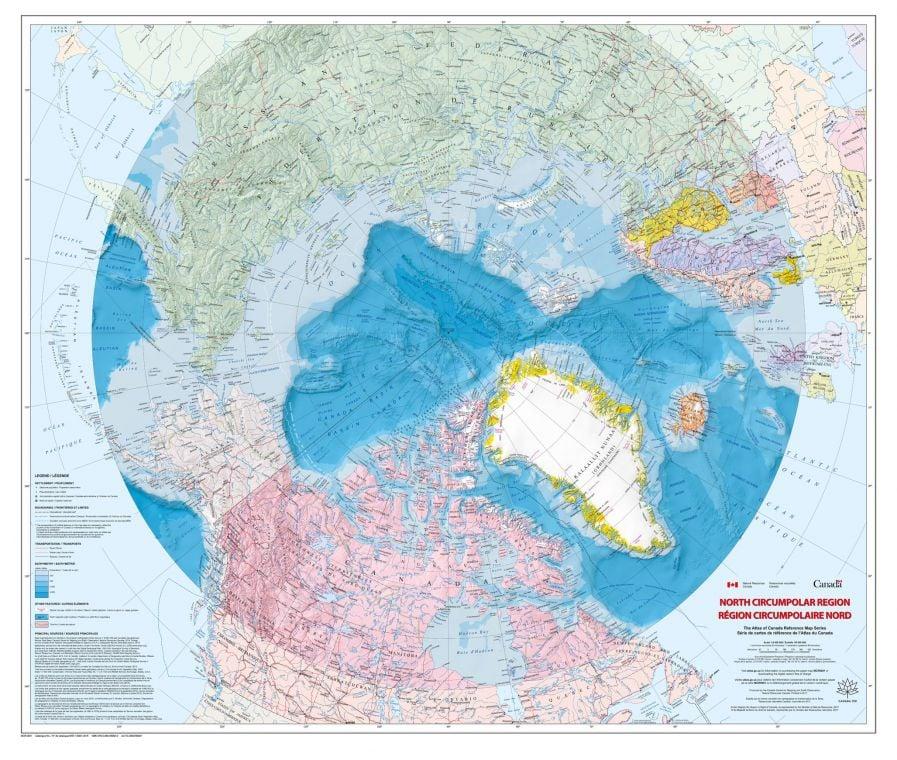 North Circumpolar Region Wall Map Bilingual Atlas Of Canada