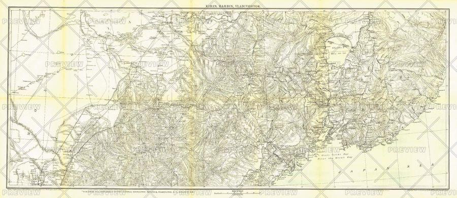 Kirin Harbin Vladivostok Published 1905 Map