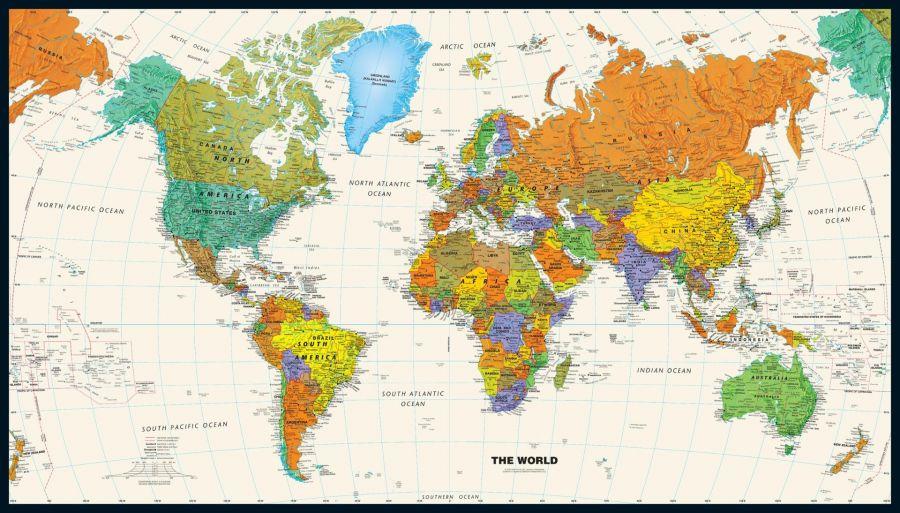 Contemporary World Wall Map