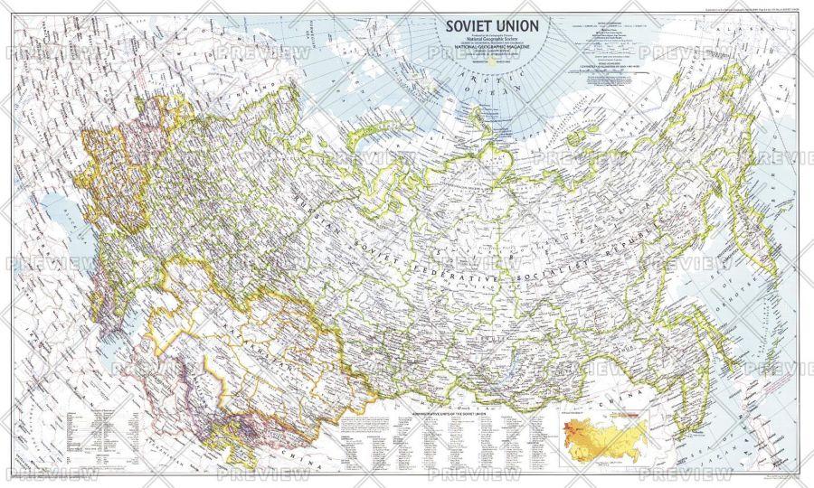 Soviet Union Published 1990 Map
