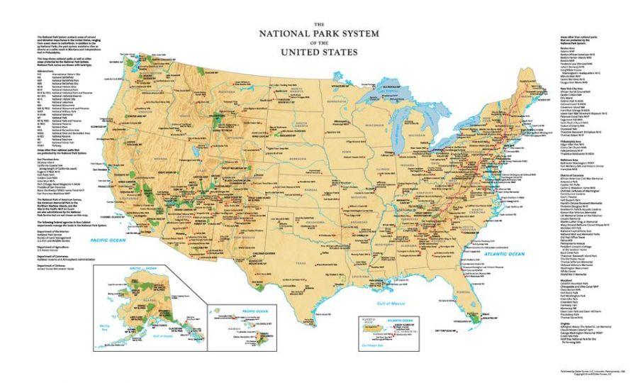 Usa National Park Service Wall Map
