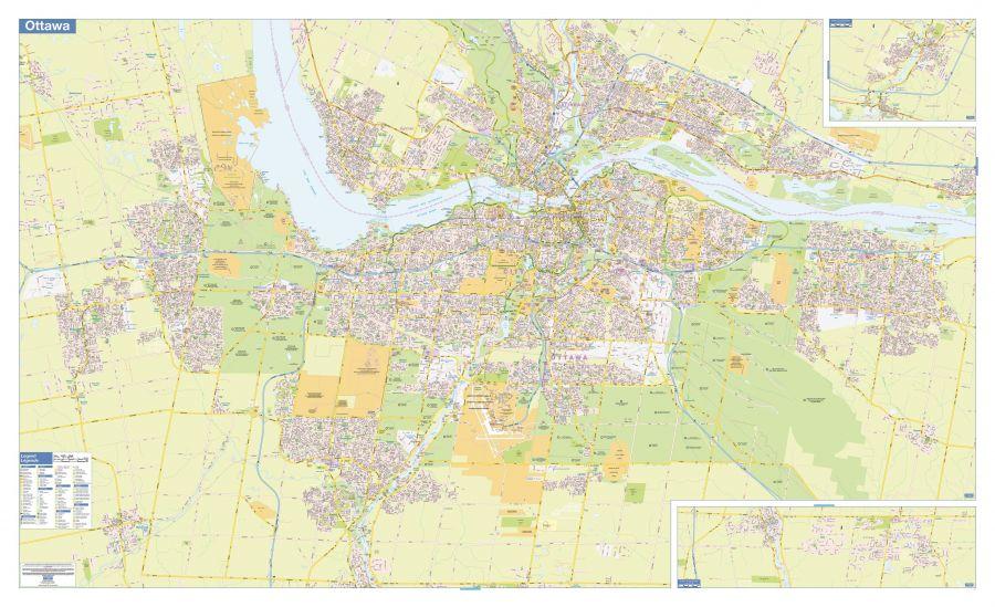 Ottawa Gatineau Wall Map Street Detail Extra Large