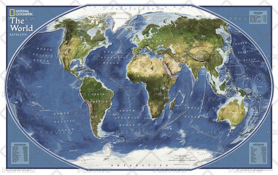 World Explorer Satellite Published 2011 Map