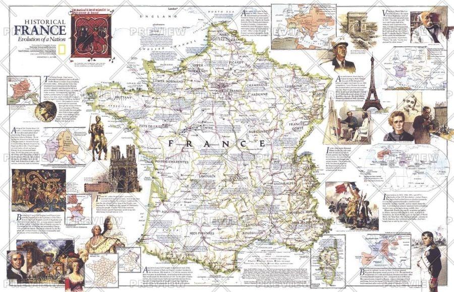 Historical France Published 1989 Map