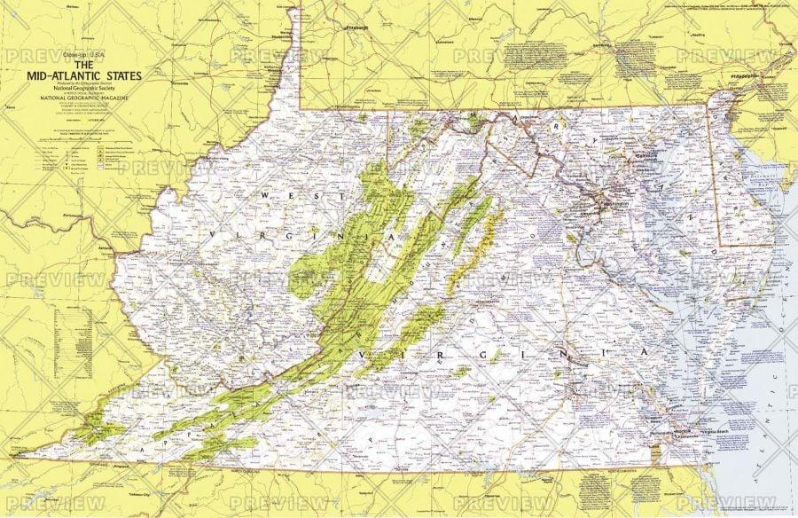 Close Up Usa Mid Atlantic States Published 1976 Map