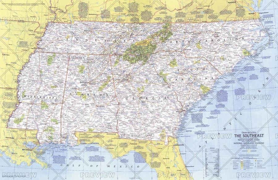 Close Up Usa The Southeast Published 1975 Map