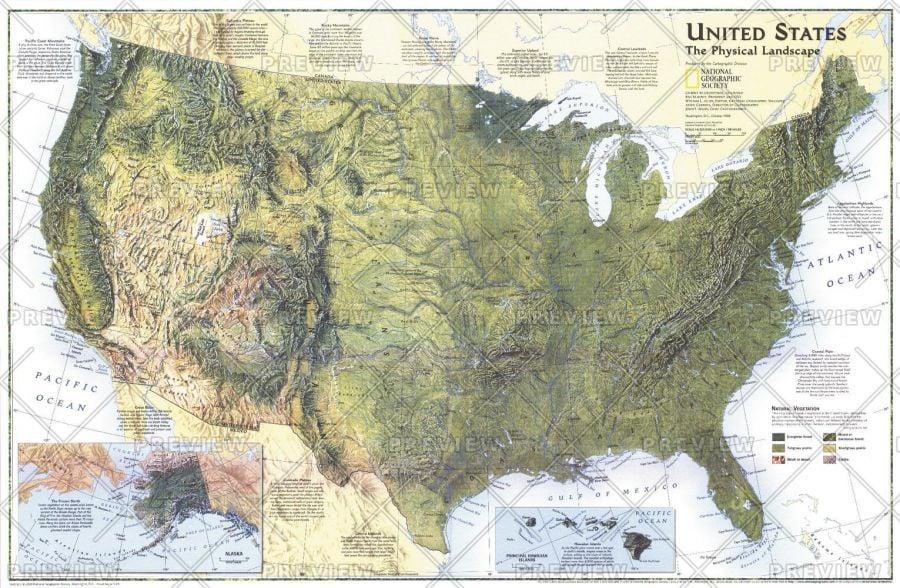 United States The Physical Landscape Published 1996 Map