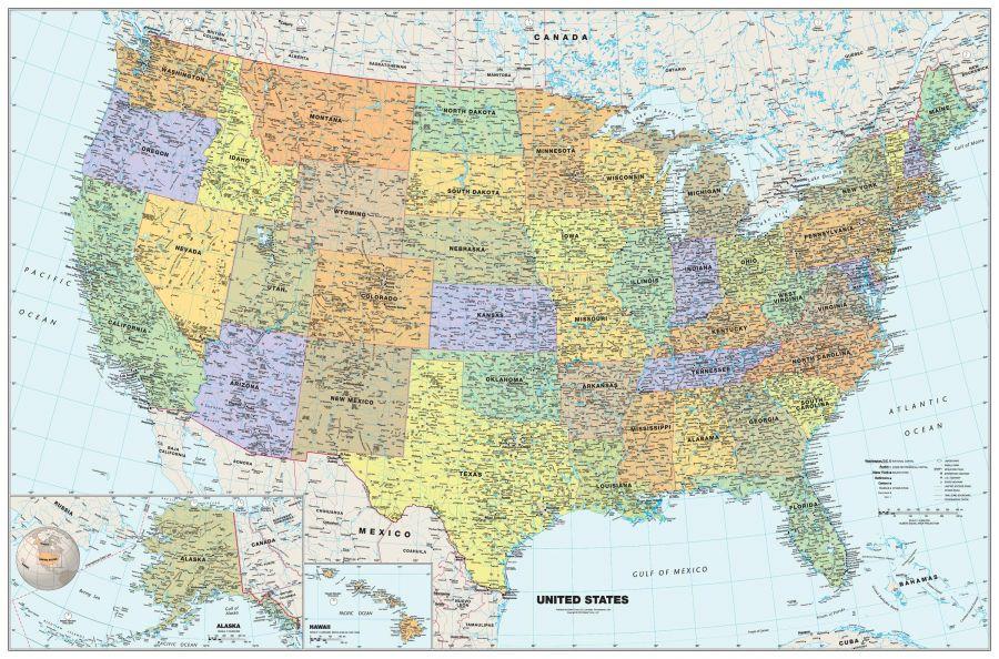 Classic Usa Wall Map