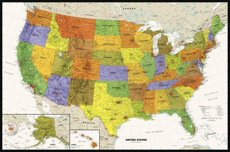 Contemporary Usa Wall Map