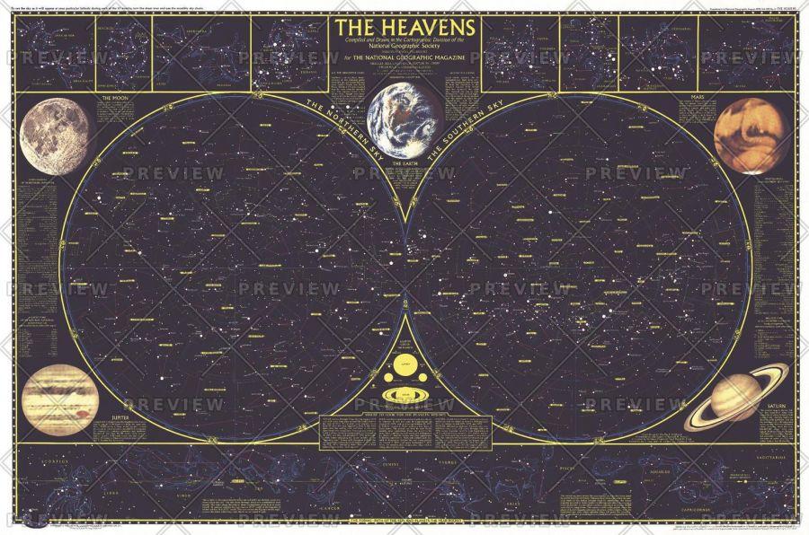 Heavens Published 1970 Map