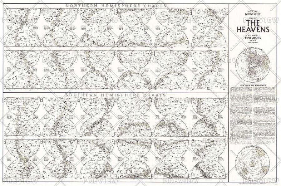 Heavens Star Chart Published 1970 Map