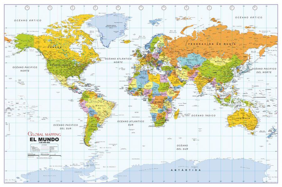 Political World Wall Map Spanish Language
