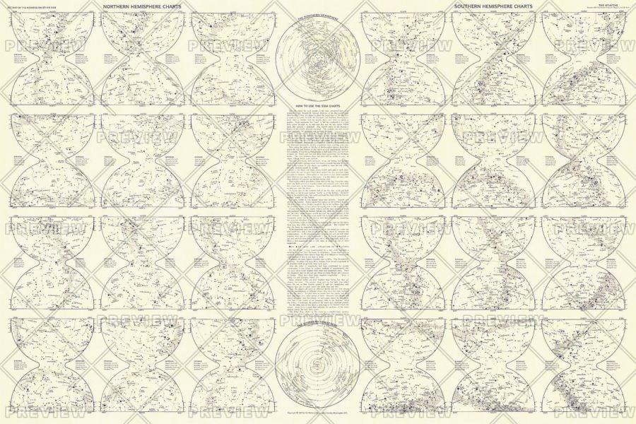 Heavens Star Chart Published 1957 Map