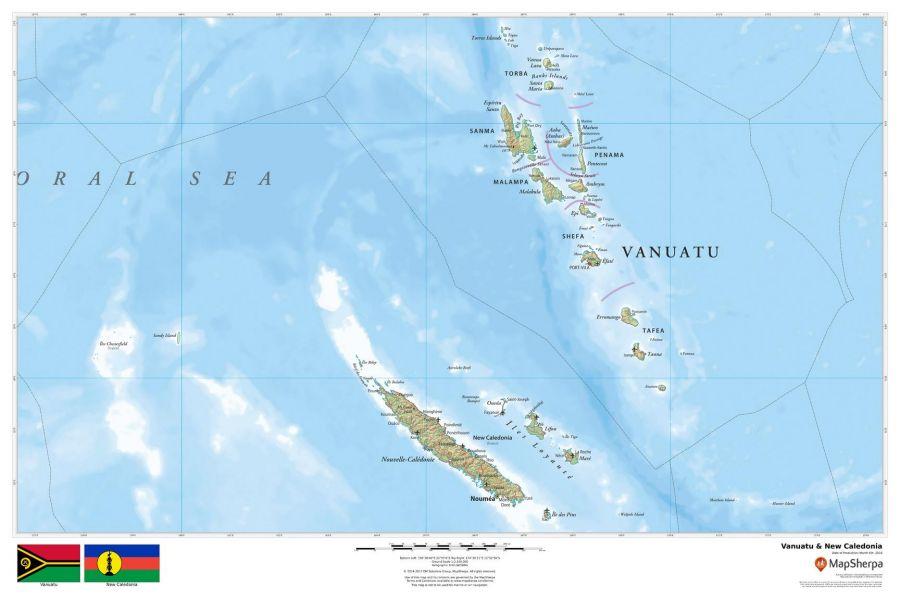 Vanuatu New Caledonia Map
