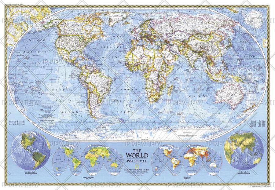 World Political Published 1994 Map