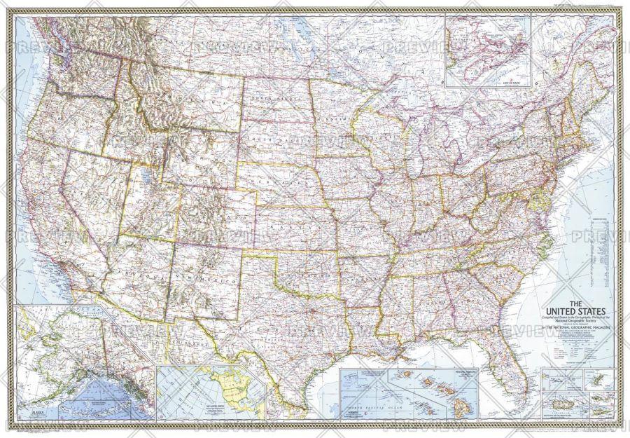 United States Published 1968 Map