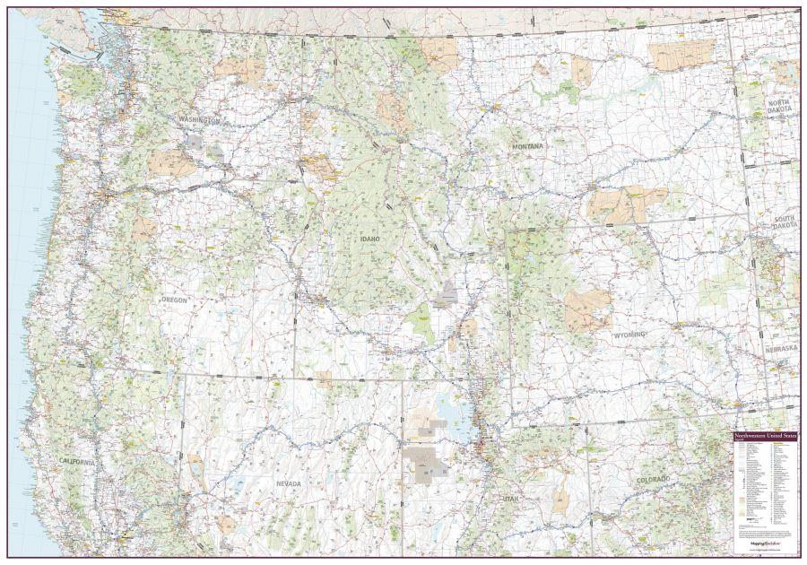 Northwestern United States Wall Map