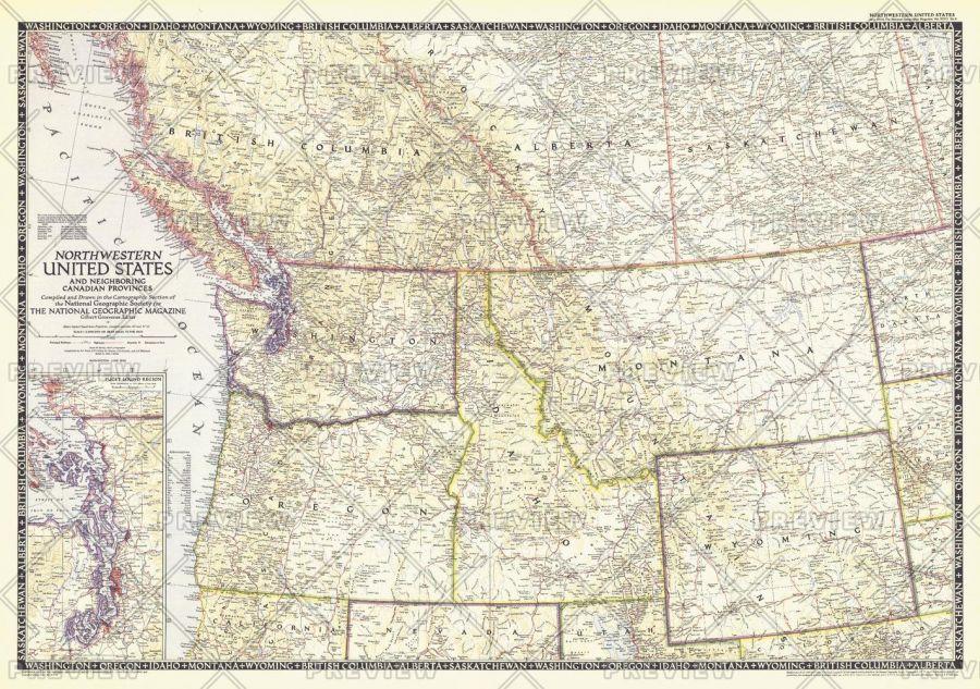 Northwestern United States And Canadian Provinces Published 1950 Map