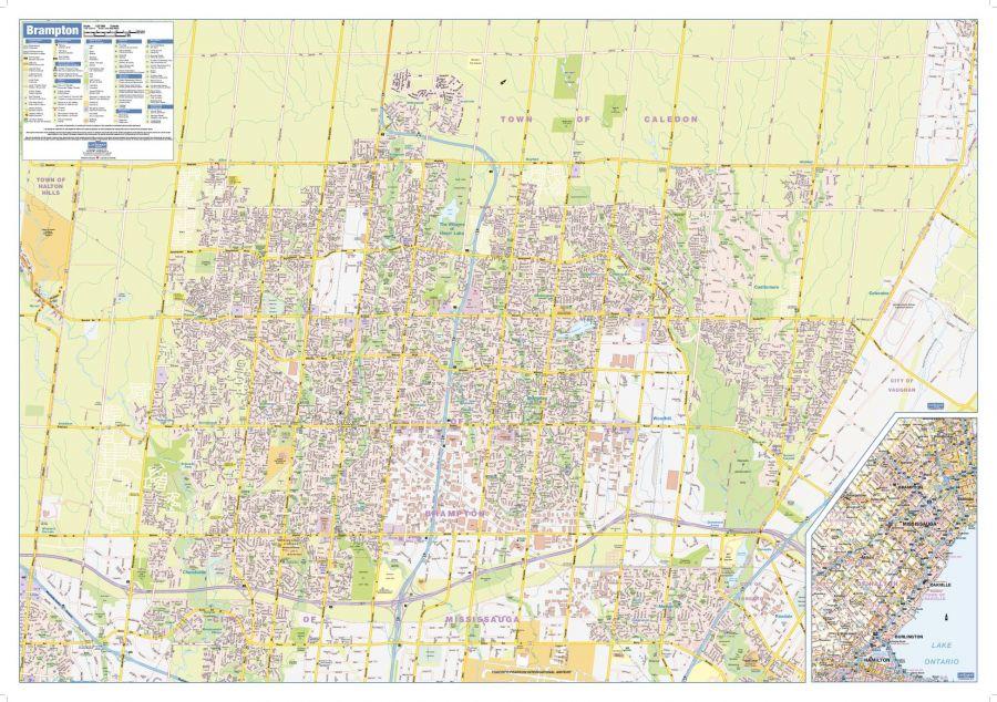Brampton Wall Map Street Detail