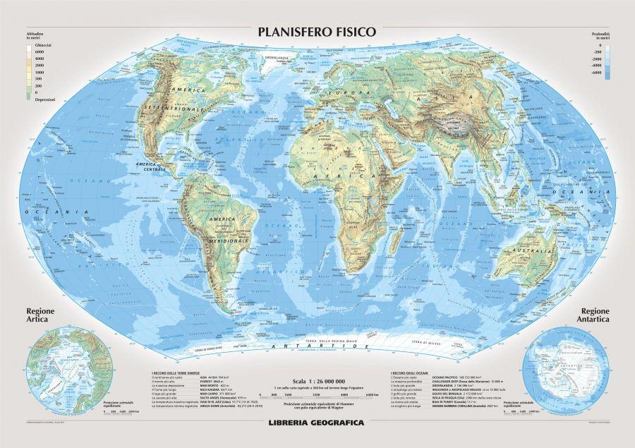 Physical World Wall Map Italian