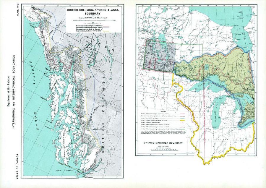 Boundaries Of Bc Yukon Alaska Ontario Manitoba 1906 Map