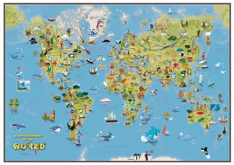 Kids Cartoon Map Of The World