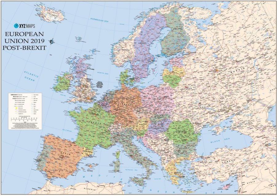 Scottish Catalan European Union 2019 Post Brexit Wall Map