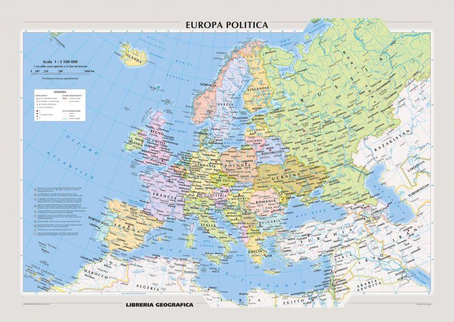 Political Europe Wall Map Italian