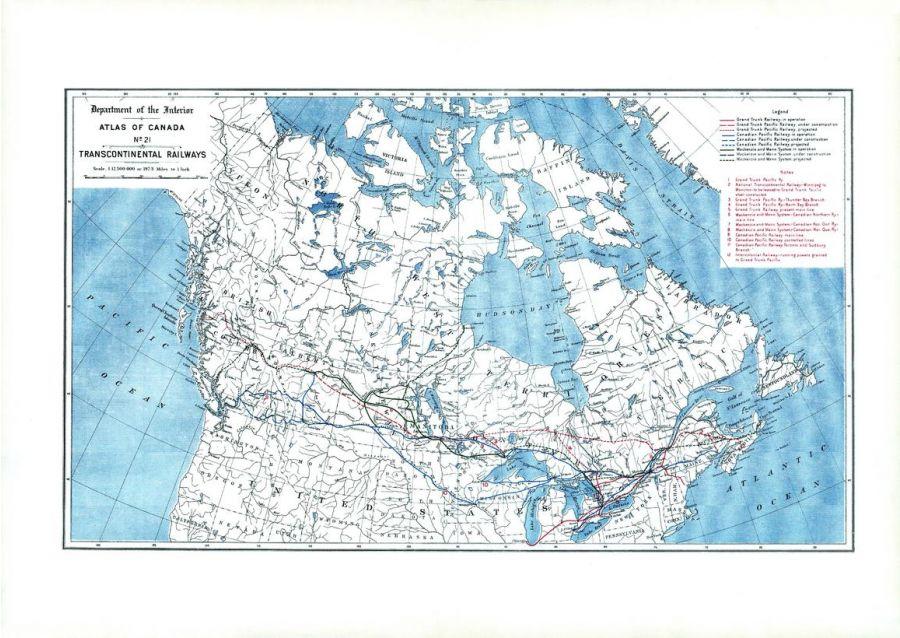 Transcontinental Railways 1906 Map