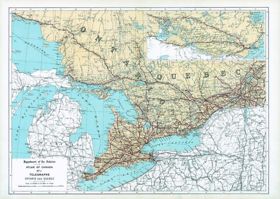 Telegraphs Ontario And Quebec 1906 Map