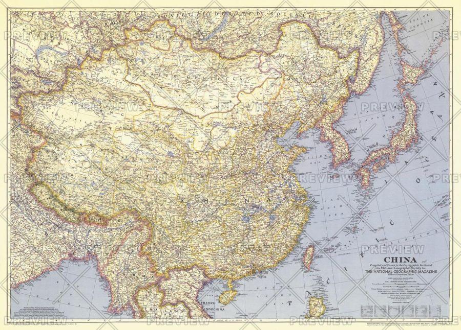 China Published 1945 Map