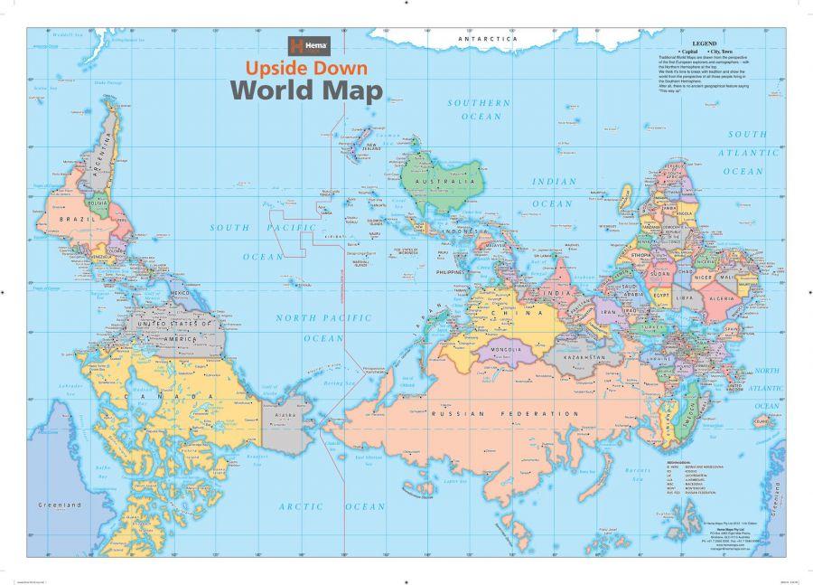 Upside Down World Wall Map