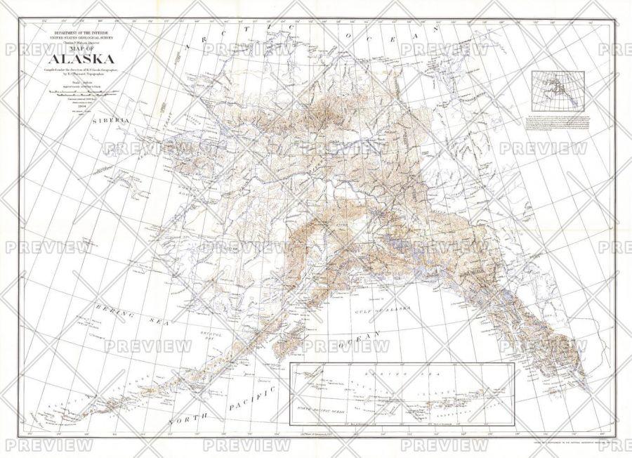 Alaska Published 1904 Map