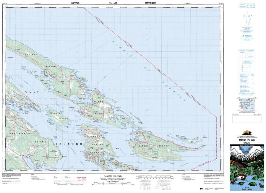 Mayne Island - 92 B/14 - British Columbia Map