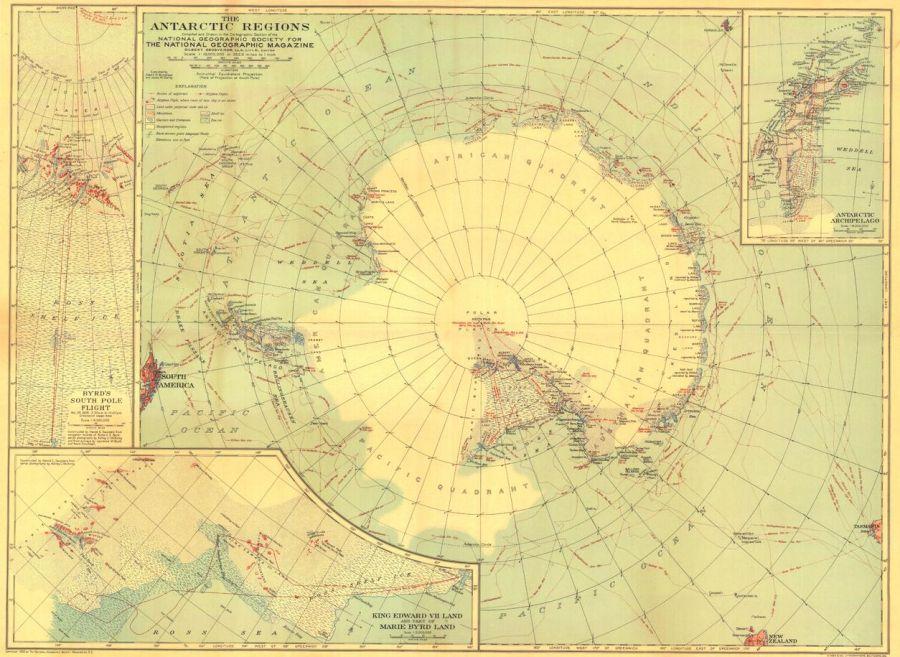Antarctic Regions Published 1932 Map