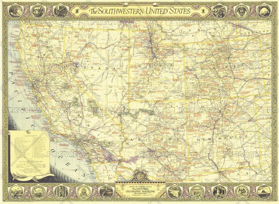 Southwestern United States Published 1940 Map