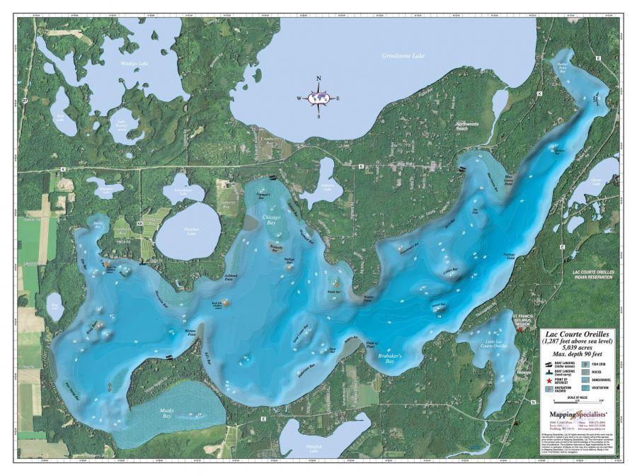 Lac Courte Oreilles Lake Map